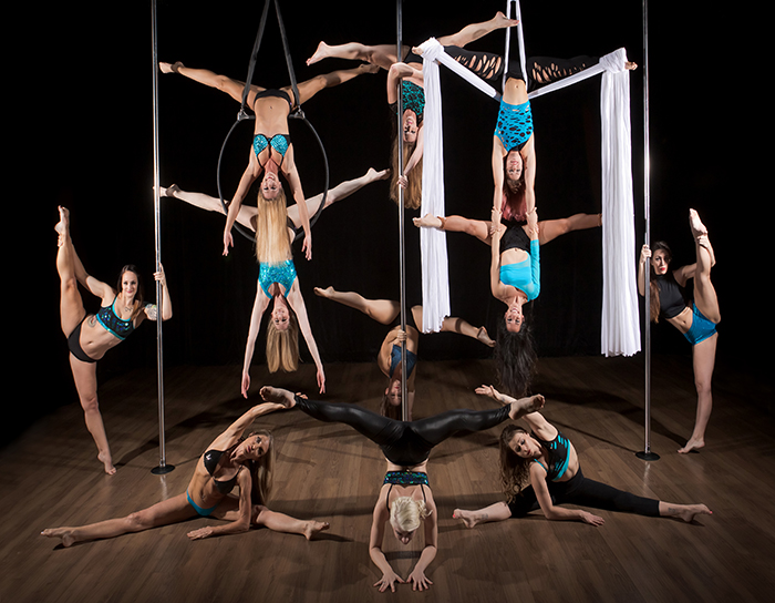 Aerial arts pole fitness classes